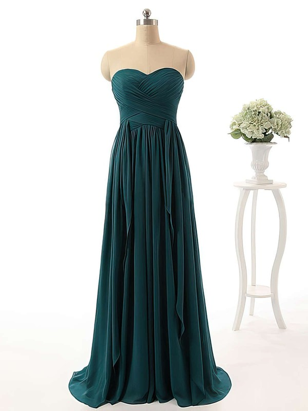Affordable Sweetheart Chiffon with Ruffles Sweep Train Bridesmaid Dresses #PDS01012738