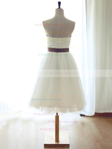 White Sweetheart Tulle Sashes / Ribbons Girls Knee-length Bridesmaid Dress #PDS01012739