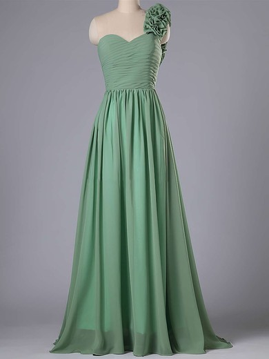 One Shoulder Chiffon Flower(s) Sweep Train Inexpensive Bridesmaid Dress #PDS01012740