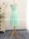 Simple Knee-length Sage Chiffon with Ruffles One Shoulder Bridesmaid Dress #PDS01012741