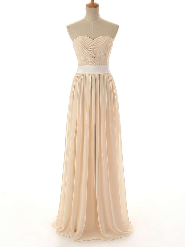 Promotion A-line Chiffon Criss Cross Sweetheart Long Bridesmaid Dress #PDS01012742