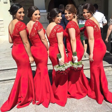 Trumpet/Mermaid Red Silk-like Satin Appliques Lace V-neck Bridesmaid Dresses #PDS01012744