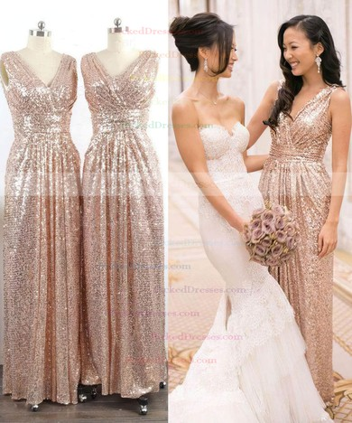 Online V-neck Sequined with Ruffles Sheath/Column Bridesmaid Dresses #PDS01012745