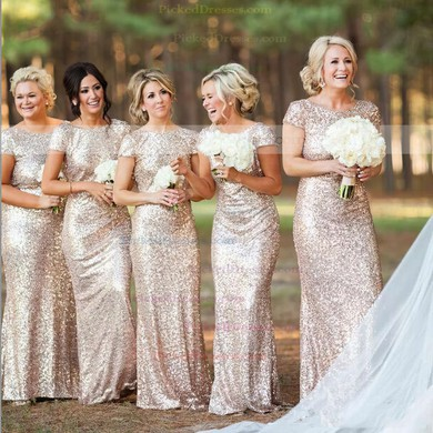 Sheath/Column Sequined Scoop Neck Short Sleeve Backless Bridesmaid Dresses #PDS01012746