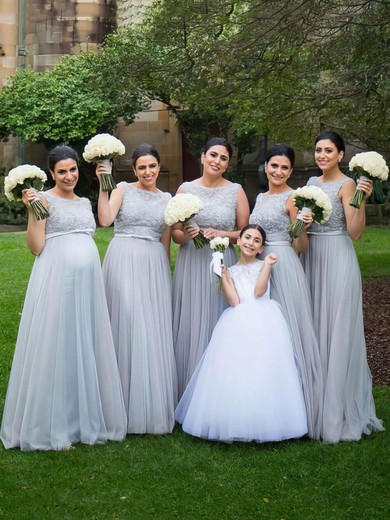 Scoop Neck Gray Tulle Sashes / Ribbons Floor-length Modest Bridesmaid Dresses #PDS01012747