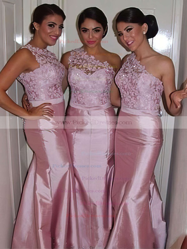 2016 Taffeta with Lace Trumpet/Mermaid One Shoulder Bridesmaid Dresses #PDS01012750