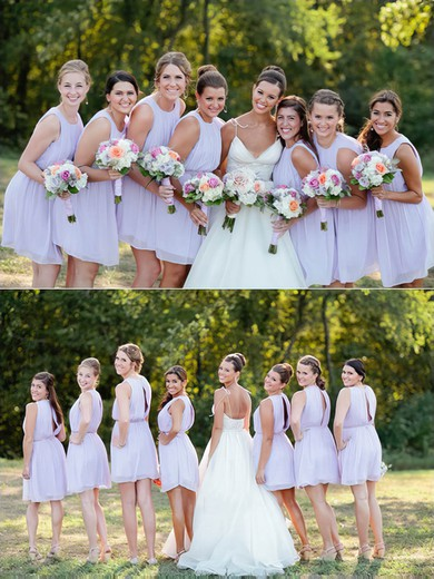 Cheap Scoop Neck Chiffon Sashes / Ribbons Short/Mini Bridesmaid Dresses #PDS01012751