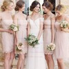 Elegant Lace Sashes / Ribbons Short/Mini Sheath/Column V-neck Bridesmaid Dresses #PDS01012752