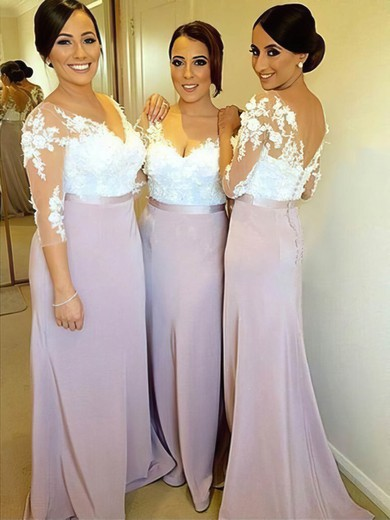 Tulle Silk-like Satin Appliques Lace 3/4 Sleeve Sheath/Column V-neck Bridesmaid Dresses #PDS01012753