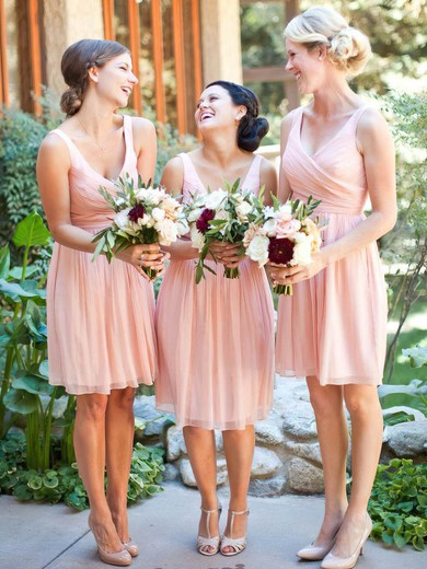 Best Chiffon Ruffles Pink V-neck Knee-length Bridesmaid Dresses #PDS01012754