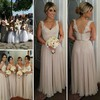 Floor-length Chiffon Appliques Lace V-neck Modest Long Bridesmaid Dresses #PDS01012755