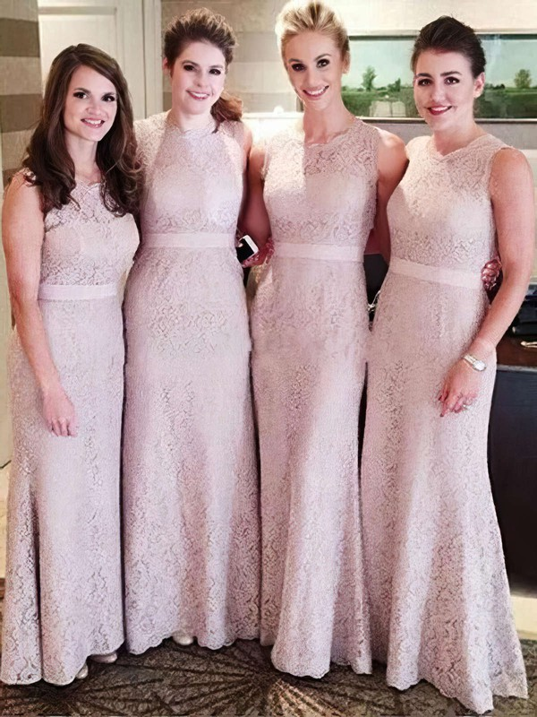 Lace Sashes / Ribbons Unique Sheath/Column Ankle-length Bridesmaid Dresses #PDS01012756