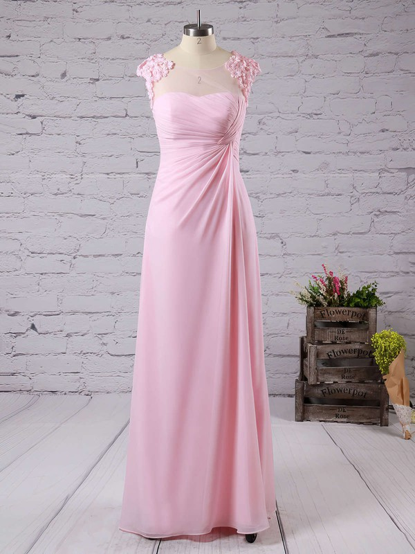 Chiffon with Appliques Lace A-line Scoop Neck Pretty Bridesmaid Dresses #PDS01012757