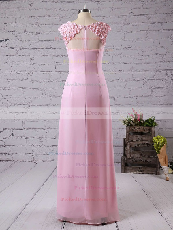 Chiffon with Appliques Lace A-line Scoop Neck Pretty Bridesmaid Dresses #PDS01012757