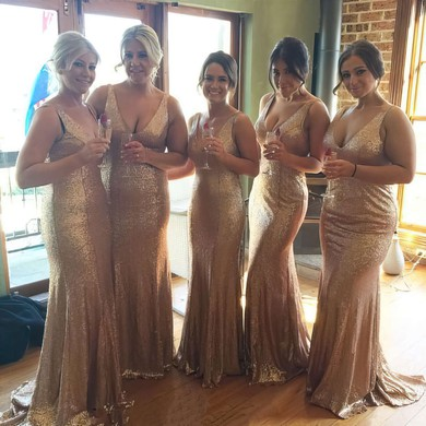 Sparkly Sequined Sweep Train Trumpet/Mermaid V-neck Bridesmaid Dresses #PDS01012758