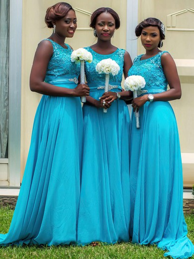 Girls Chiffon Beading Scoop Neck Sweep Train Blue Bridesmaid Dresses #PDS01012759
