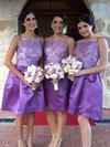 Affordable Elastic Woven Satin Appliques Lace Square Neckline Knee-length Bridesmaid Dresses #PDS01012761