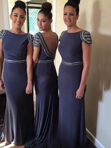 Sweep Train Chiffon Beading Promotion Backless Sheath/Column Bridesmaid Dresses #PDS01012765