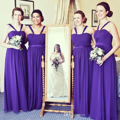 Chiffon Sashes / Ribbons A-line Floor-length Discounted Bridesmaid Dresses #PDS01012766