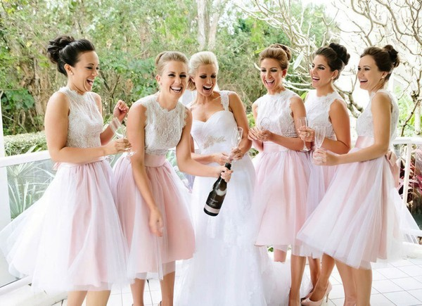 Perfect Tulle with Lace Scalloped Neck Knee-length Bridesmaid Dresses #PDS01012767
