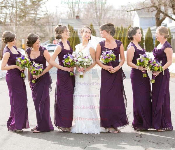 Chiffon with Lace Ankle-length Sheath/Column Cowl Neck Bridesmaid Dresses #PDS01012768