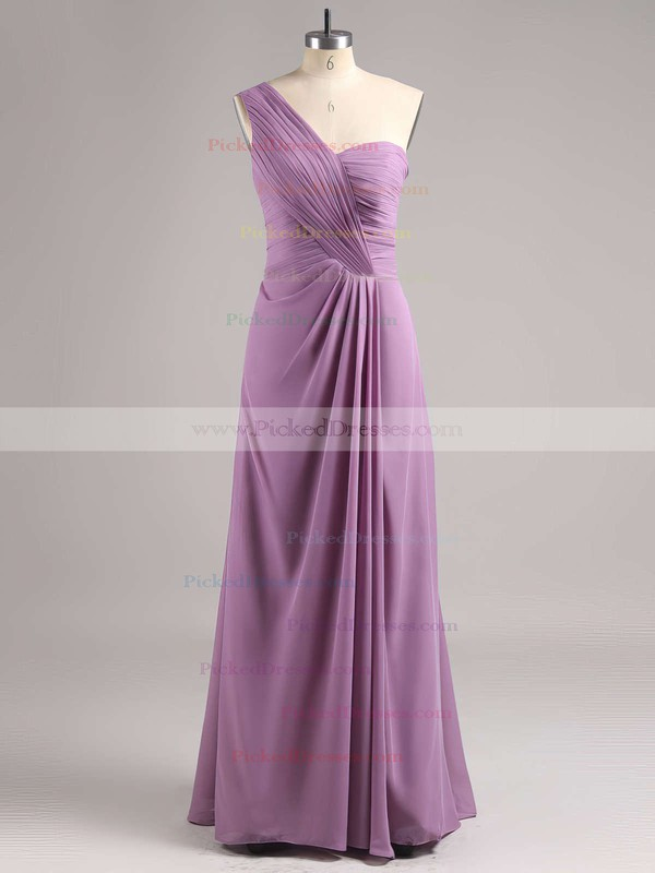 Chiffon Split Front Different One Shoulder Ankle-length Bridesmaid Dress #PDS01012769