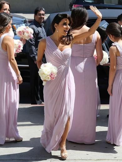 Chiffon Split Front Different One Shoulder Ankle-length Bridesmaid Dress #PDS01012769