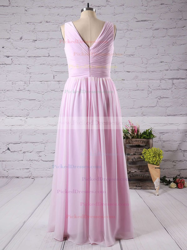 Gorgeous Pink Chiffon Floor-length with Ruffles V-neck Bridesmaid Dress #PDS01012771
