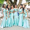 Silk-like Satin Sashes / Ribbons Latest Trumpet/Mermaid Off-the-shoulder Bridesmaid Dress #PDS01012772