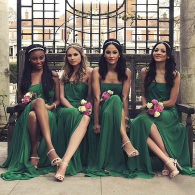 Chiffon Split Front Popular Hunter Strapless Ankle-length Bridesmaid Dress #PDS01012773