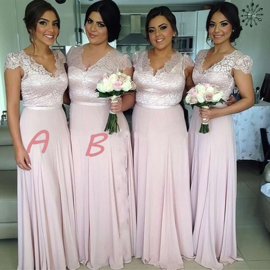 Chiffon Floor-length with Lace Cap Straps V-neck Exclusive Bridesmaid Dress #PDS01012774
