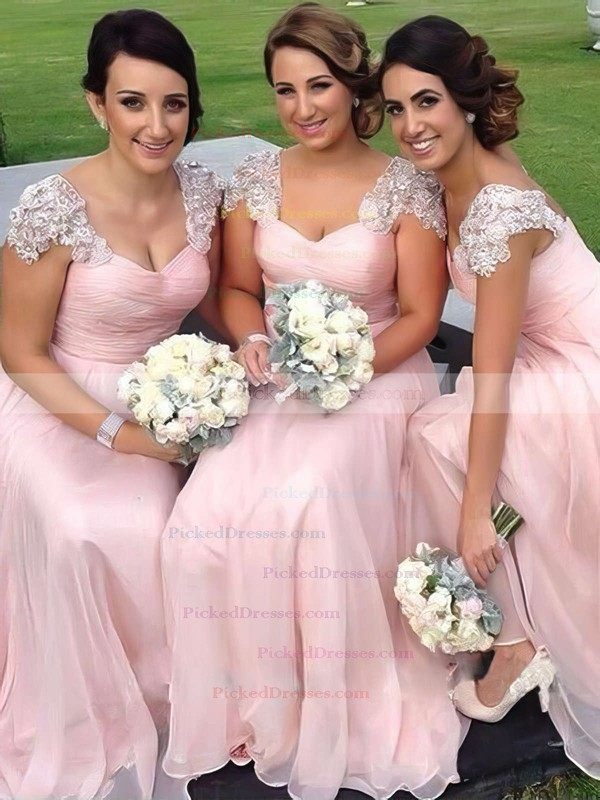 Original Chiffon Appliques Lace Floor-length V-neck Pink Bridesmaid Dress #PDS01012776