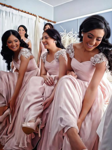 Original Chiffon Appliques Lace Floor-length V-neck Pink Bridesmaid Dress #PDS01012776