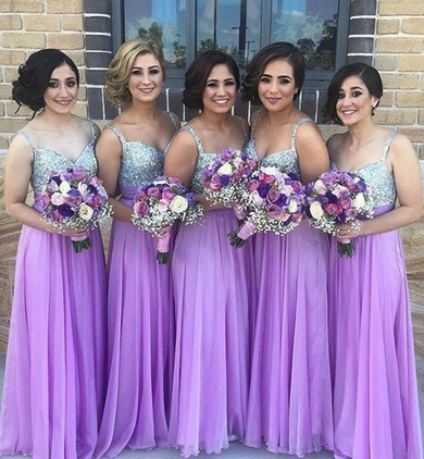 Gorgeous Chiffon with Beading A-line V-neck Long Bridesmaid Dress #PDS01012777