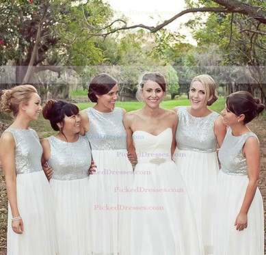 Chiffon with Sequins Scoop Neck Floor-length Boutique White Bridesmaid Dress #PDS01012778