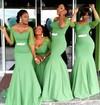 Tulle Silk-like Satin Sashes / Ribbons 1/2 Sleeve V-neck Trumpet/Mermaid Bridesmaid Dress #PDS01012779