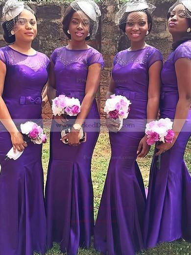 Short Sleeve Tulle Elastic Woven Satin Sweep Train Beading Trumpet/Mermaid Bridesmaid Dress #PDS01012780