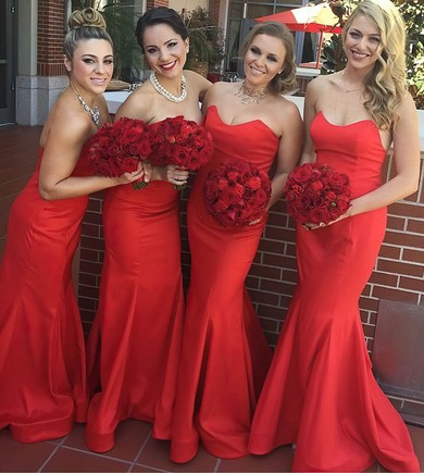Prettiest Silk-like Satin Ruffles Sweetheart Red Trumpet/Mermaid Bridesmaid Dress #PDS01012781