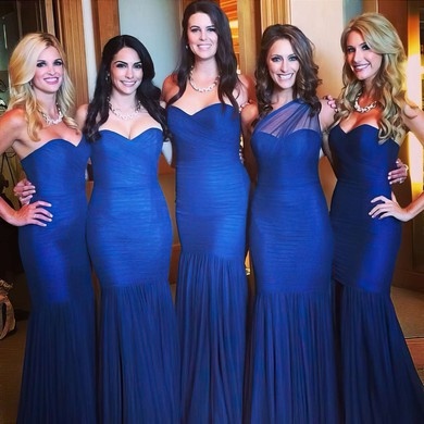 Sweetheart Ruffles Tulle Royal Blue Good Trumpet/Mermaid Bridesmaid Dress #PDS01012782