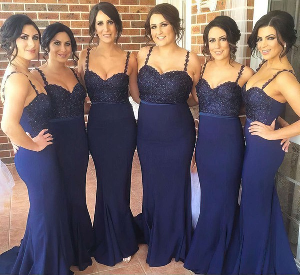 Newest Chiffon Beading Sweep Train Dark Navy Trumpet/Mermaid Bridesmaid Dress #PDS01012784