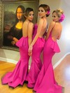 Silk-like Satin Ruffles Sweep Train Great Backless Trumpet/Mermaid Bridesmaid Dress #PDS01012785