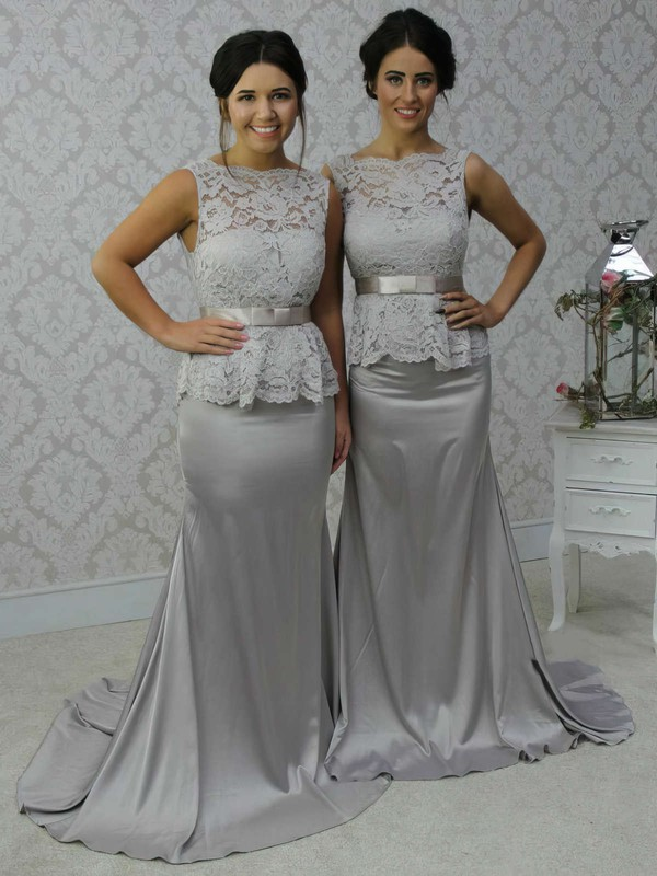 Lace Silk-like Satin Sashes / Ribbons Scalloped Neck Open Back Trumpet/Mermaid Bridesmaid Dress #PDS01012788