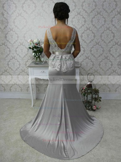 Lace Silk-like Satin Sashes / Ribbons Scalloped Neck Open Back Trumpet/Mermaid Bridesmaid Dress #PDS01012788