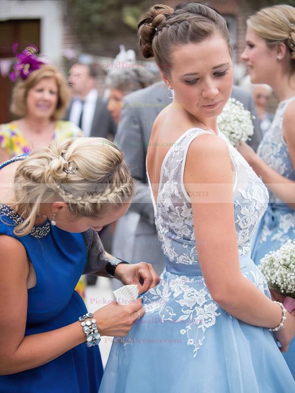 Scoop Neck Tulle Appliques Lace Junior Tea-length Bridesmaid Dress #PDS01012790
