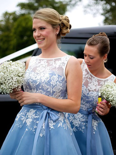 Scoop Neck Tulle Appliques Lace Junior Tea-length Bridesmaid Dress #PDS01012790