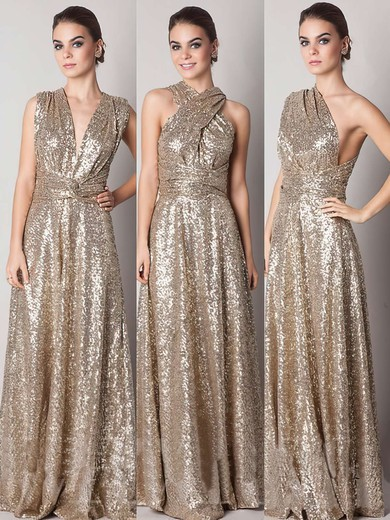Backless Gold A-line V-neck Sequined Online Bridesmaid Dresses #PDS01012791