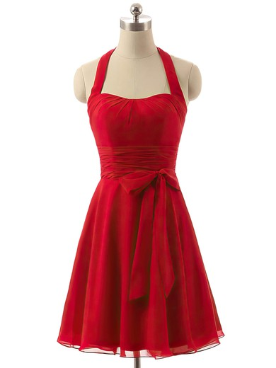 Cheap Short/Mini Chiffon Sashes / Ribbons Red Halter Bridesmaid Dresses #PDS01012792