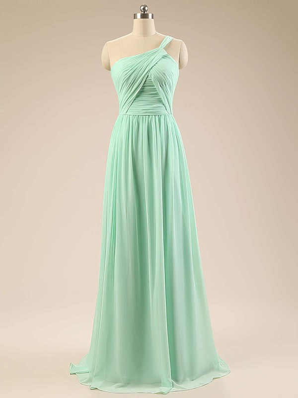 Sage Chiffon Sweep Train Ruffles Designer One Shoulder Bridesmaid Dresses #PDS01012793