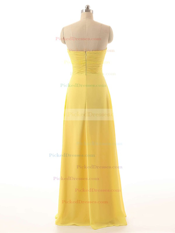 Sweetheart Chiffon Floor-length Criss Cross Yellow 2016 Bridesmaid Dresses #PDS01012794