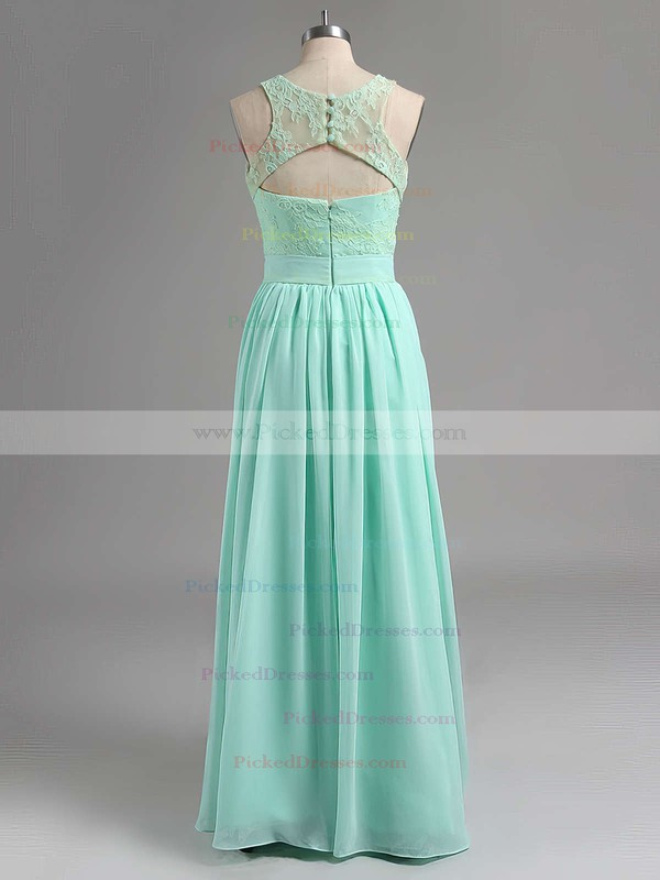Elegant Scoop Neck Lace Chiffon with Pleats Sage Long Bridesmaid Dresses #PDS01012795